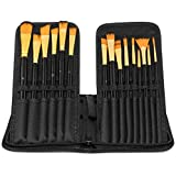 Maad Art Supply 15 Assorted Paint Brush Set with Pop-Up Case - Artist Brushes Work with Acrylic, Watercolor and Oil Paint