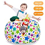 "toy organization ideas Stuffed Animal Storage Bean Bag - Kids and Teens Chair Сover - Extra-Large Toy Organizer - Stuff, Zip, Sit Pouf, Trendy Teenage Bedroom Idea (Holiday Stars, 38"")"