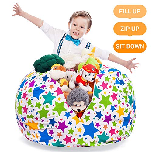 "Stuffed Animal Storage Bean Bag - Kids and Teens Chair Сover - Extra-Large Toy Organizer - Stuff, Zip, Sit Pouf, Trendy Teenage Bedroom Idea (Holiday Stars, 38"")"