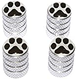 """(4 Count) Cool and Custom """"Diamond Etching Black Paw Print Top with Easy Grip Texture"""" Tire Wheel Rim Air Valve Stem Dust Cap Seal Made of Genuine Anodized Aluminum Metal {Bright Kia Silver and White Colors - Hard Metal Internal Threads for Easy Application - Rust Proof - Fits For Most Cars, Trucks, SUV, RV, ATV, UTV, Motorcycle, Bicycles}"""