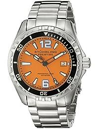 Stuhrling Original Men's 382.331117 Prestige Swiss Regatta Captain Quartz Diver Date Orange Dial Watch