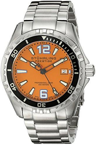 Stuhrling Original Men's 382.331117 Prestige Swiss Regatta Captain Quartz Diver Date Orange Dial Watch (Prestige Bezel Bracelet)