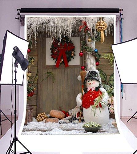 (Laeacco Vinyl 5x7ft Photography Background Rustic Rural Front Door Wood House Christmas Decorations Lovely Snowman Broom Flowers Wreath Garland Pumpkins Children Adults Portraits Video Studio Prop)