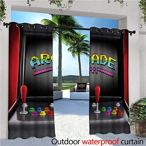 homehot Video Games Exterior/Outside Curtains Arcade Machine Retro Gaming Fun Joystick Buttons Vintage 80s 90s Electronic for Patio Light Block Heat Out Water Proof Drape W96 x L84 Multicolor