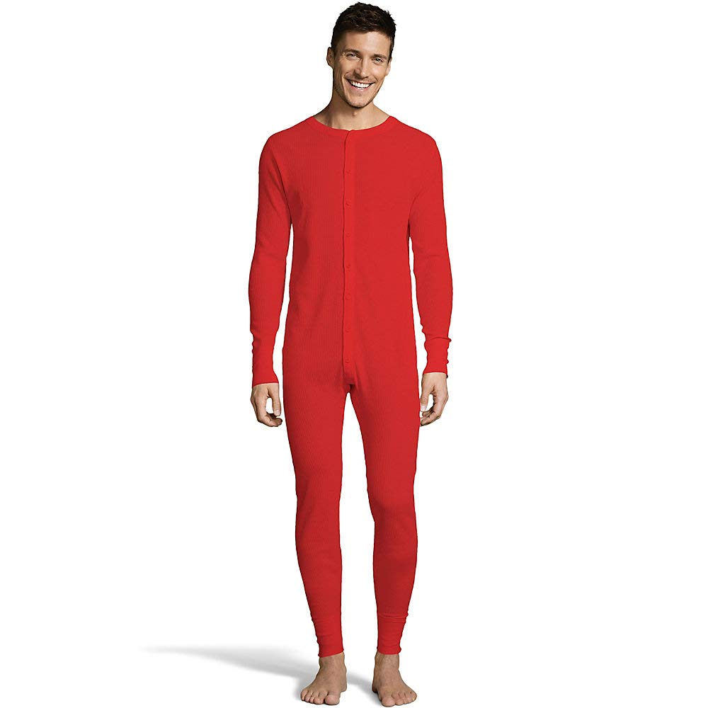 Hanes Men's Solid Color Waffle Knit Thermal Union Suit