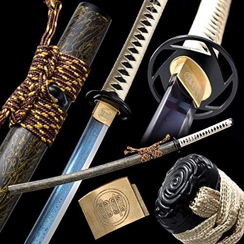 entez Damascus Katana Sword Full Tang Samurai Sword Battle Ready,Damascus Folded Steel,Practical, Hand Forged,Razor Sharp