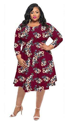 HPLY Women Fashion Casual Dresses Plus Size Printed Round Neck Maxi Dress Red Wine/XL