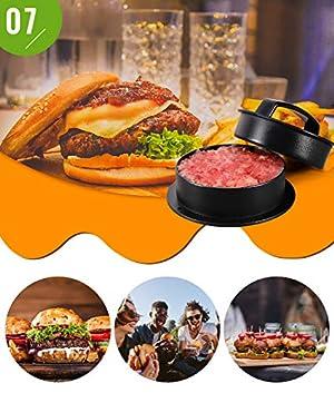 Nuovoware 3 in 1 Burger Press, Hamburger Press Patty Stuffed Burger Maker with 100ps Burger Paper for BBQ Non Stick Sliders Beef Burger Press - Black (Color: Black)