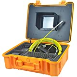 Push Plumbing Camera Snake Sewer Drain Color Camera with Distance Counter, 512Hz Sonde For Pipe Locator, 40m Cable, 8 inch Screen, Video Record, Photograph, Keyboard, Adjustable LED