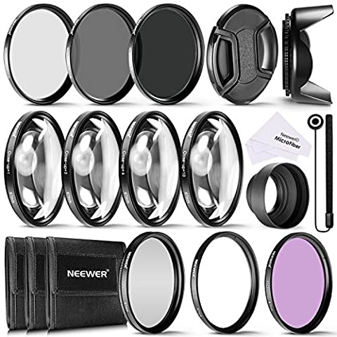 Neewer 67MM Complete Lens Filter Accessory Kit for Lenses with 67MM Filter Size: UV CPL FLD Filter Set + Macro Close Up Set (+1 +2 +4 +10) + ND Filter Set (ND2 ND4 ND8) + Other