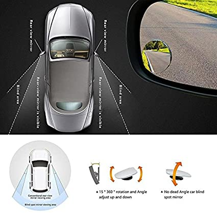 TR.OD 2PCS Adjustable Car Mirror Blind Spot Side Rear View Convex Wide Angle Parking No frame Square