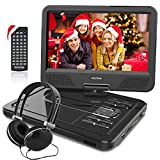 """WONNIE 12.5 Inch Portable DVD Player with 4 Hour Rechargeable Battery,10.5"""" Swivel Screen, SD Card Slot and USB Port and Stereo Earphones (Black)"""