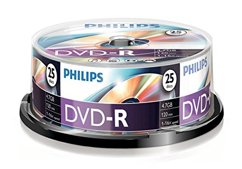 Philips DM4S6B25F/00 DVD-R Rohlinge (4.7 GB Data/120 min. Video, 16x High-Speed-Aufnahme, 25-spindle)