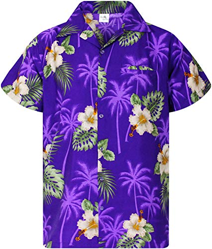 (King Kameha Funky Hawaiian Shirt, Shortsleeve, Small Flower, Purple, XL)