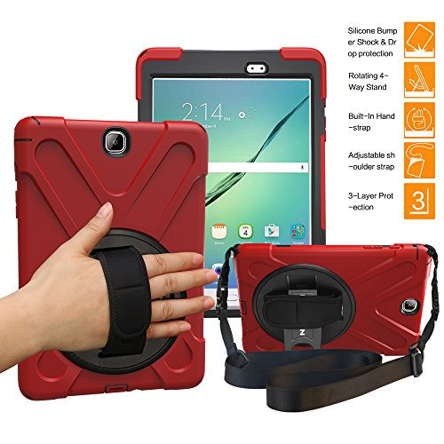 BRAECNstock Galaxy Tab A 9.7 Case Full-Body Shock Proof Hybrid Heavy Duty Armor Protective Case for Samsung Galaxy Tab A 9.7 [SM-T550] Case with Kickstand/Hand Strap/Shoulder Strap (Red)