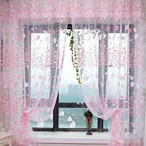 Sheer Window Curtain Panels for Kids Room Elegant Embroidered Floral Pink Voile Tulle Embossed Window Treatment Decorative Draperies and Curtains for Bedroom/Living Room