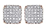 Round Cut White Natural Diamond Hip Hop Stud Earrings 14K Rose Gold Over Sterling Silver (0.75 Cttw)