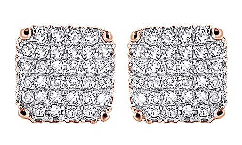 Round Cut White Natural Diamond Hip Hop Stud Earrings 14K Rose Gold Over Sterling Silver (0.75 Cttw) by Wishrocks