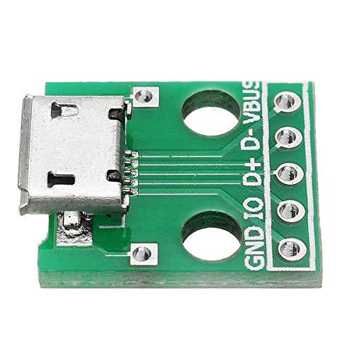 Zhanyiyi Modul 10 st/ücke Micro USB zu dip mikrofon buchse b typ mikrofon 5 p Patch zu dip mit l/öten Adapter Board