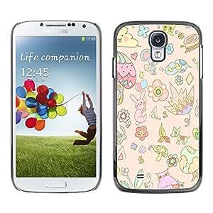 Nube de ratón floral de los niños hijos de Arte - Metal de aluminio y de plástico duro Caja del teléfono - Negro - Samsung Galaxy S4