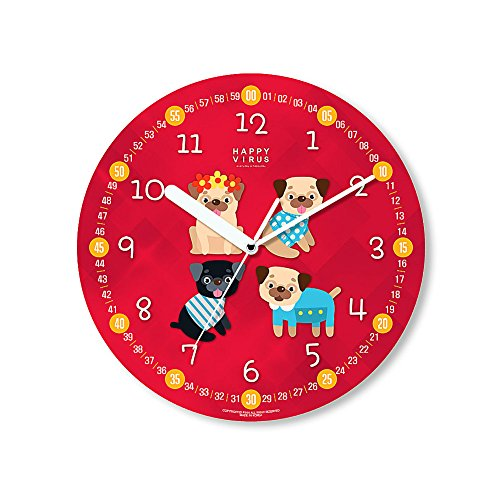 HappyVirus 11.22'' Educational Wall Clock, Children's Time Telling Teacher, Silent Non Ticking Home Decoration (4 Dogs) #2130 by HappyVirus