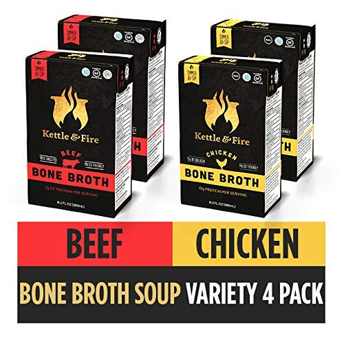 Bone Broth Soup Beef and Chicken Variety Pack by Kettle and Fire, Keto Diet, Paleo Friendly, Whole 30 Approved, Gluten Free, with Collagen, Protein, 16.2 fl oz (Pack of 4)