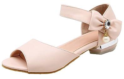 f099dc45134 iDuoDuo Women s Sweet Peep Toe Bowtie Rhinestones Summer Sandals Low Heels  Hook and Loop Flats Pink