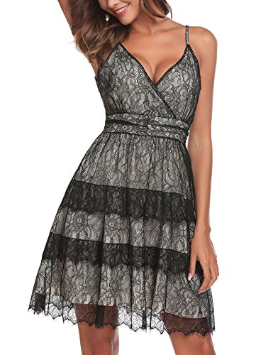 ANGVNS Women's Backless V Neck Spaghetti Strap High Waist Casual Dress,S,Black from ANGVNS