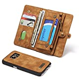 RAYTOP® [Magnetic Removable Phone Case] + [10 Card Holders] + [4 Large Pockets] Synthetic Leather Wallet for Samsung Galaxy S7 [Magnet + Zipper + Button Closure] Vintage Brown Large Capacity