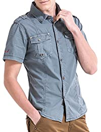 Men's Military Stylish Button Front Rugged Cotton Short Sleeve Work Shirts