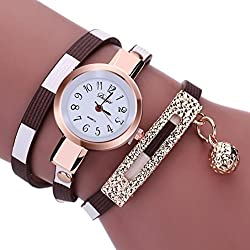 Women Watches Mosunx(TM) Fashion New Girl Watches Charm Wrap Around Leatheroid Quartz Wrist Watch Girlfriend Gift (Brown)