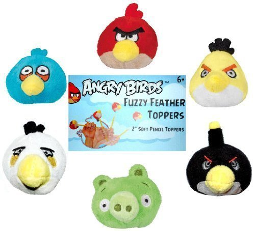 Angry Birds Plush Fuzzy Feather Toppers Flinger Set of 6 Officially Licensed By Rovio Model: (Plush Bird Toys Set Angry)