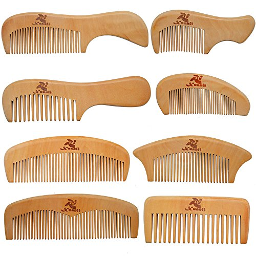 Xuanli 8 Pcs The Family Of Hair Comb - Wood with Anti-Static & No Snag Handmade Brush for Beard, Head Hair, Mustache With Gift Box (S021)