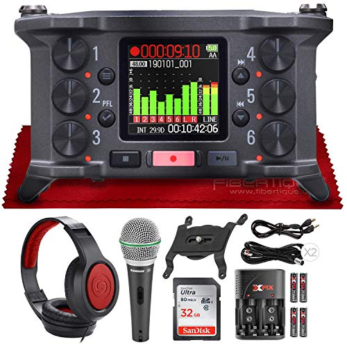 Zoom F6 6-Input / 14 Track Multi-Track Ultra-Compact Field Recorder + Q6 Dynamic Handheld Microphone and SR360 Over-Ear Dynamic Stereo Headphones with Deluxe Accessories Package
