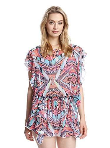 Jessica Simpson Multi Flutter-Sleeve Printed Cover Up Tunic S