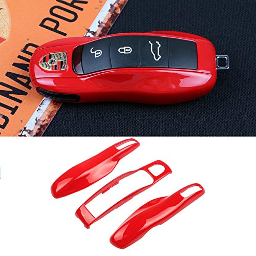 TTCR-II Key Case Covers for Porsche, 3PCs Smart Remote Key Shell Holder ABS Cover Fits Porsche Boxster Turbo Cayenne Panamera Macan Cayman 911 (Red)