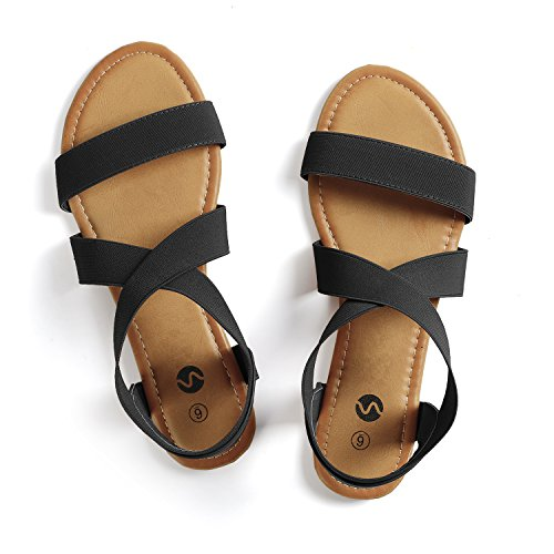 Rekayla Elastic Ankle Wrap Flat Sandals for Women Black 08