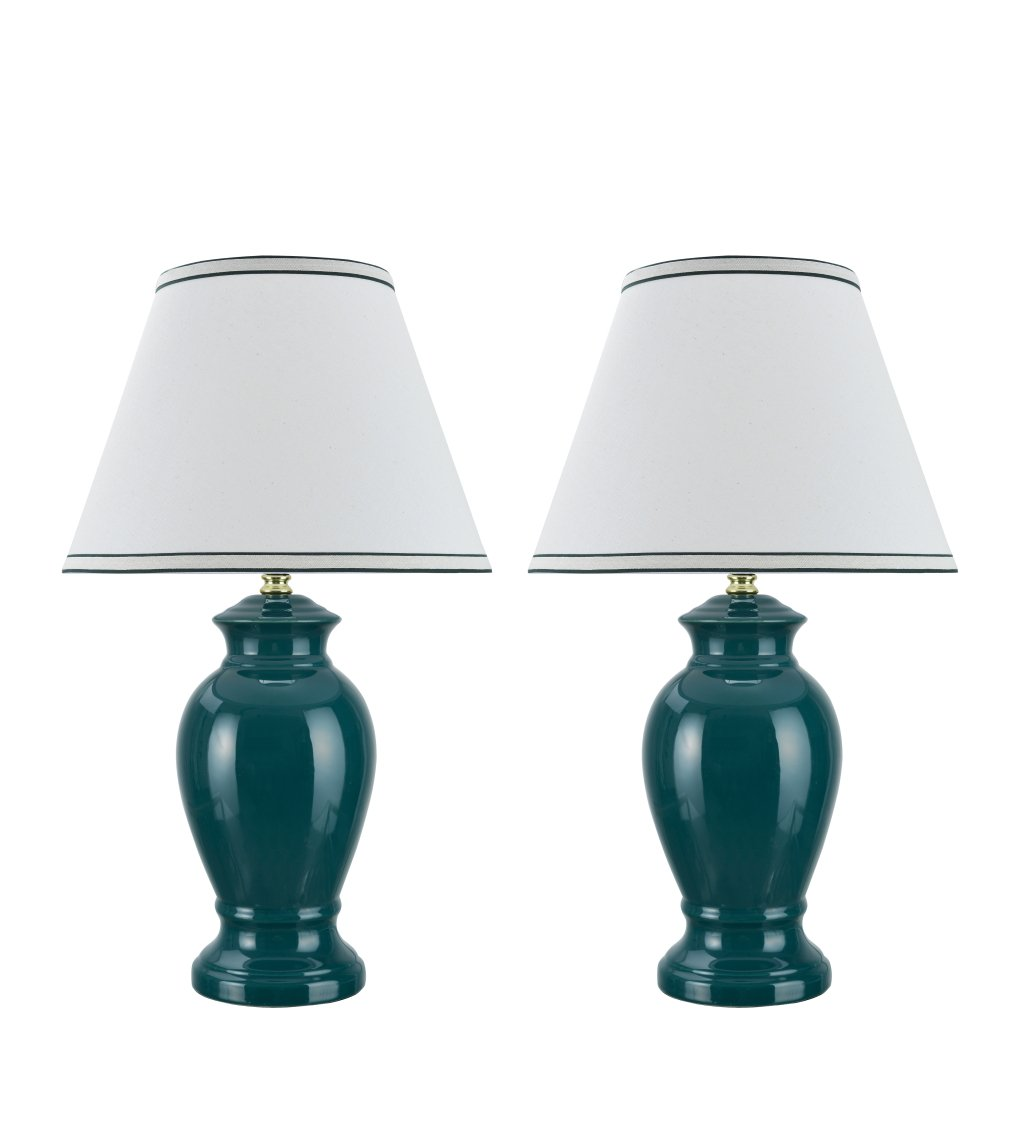 Aspen Creative 40071, Two Pack Set 21 1/2'' High, Traditional Ceramic Table Lamp, Green with Hardback Empire Shaped Lamp Shade in Off-White, 13'' Wide
