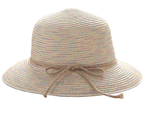 IL Caldo Womens Summer Colorful Bucket Hat Band Bow Cap Braid Straw Hat Fashion Sun Beach hat,Beige
