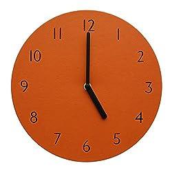Decorative Wall Clock Silent & Non-Ticking Quartz Clock PU Leather Lightweight 0.4lb Round 9 (Orange)