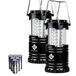 Etekcity 2 Pack Portable Outdoor LED Camping Lantern Flashlights with 6 AA Batteries - Survival Kit for Emergency, Hurricane, Storm, Outage (Black, Collapsible)