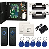 Wiegand Access Control Board System Kit for 2 Door with 110-240V Metal Power Box + Electric ANSI Strike Lock+RFID Reader+Exit+Key Fobs +Enroll RFID USB Reader(Phone APP remotely Open door)