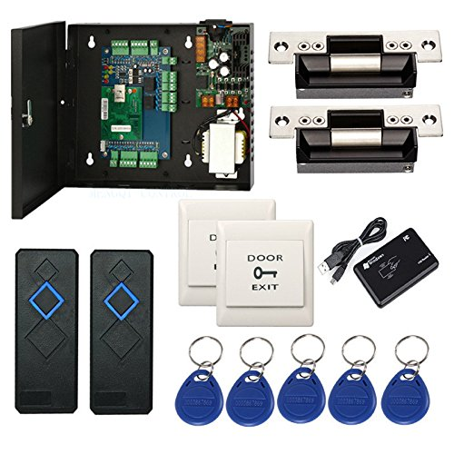 Wiegand Access Control Board System Kit for 2 Door with 110-240V Input Metal Power Box + Electric ANSI North American Strike Lock+RFID Reader+Exit+Key Fobs +Enroll RFID USB Reader Card Access Control Wire