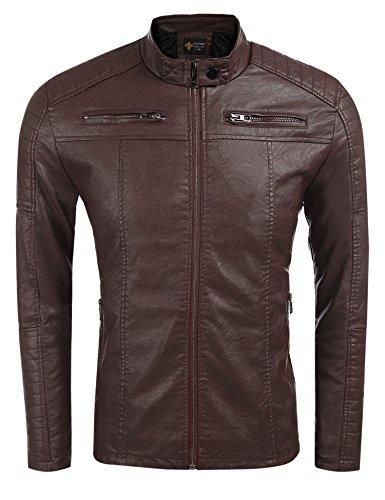COOFANDY Men's Classic Leather Motorcycle Jacket Winter Biker Jacket Brown