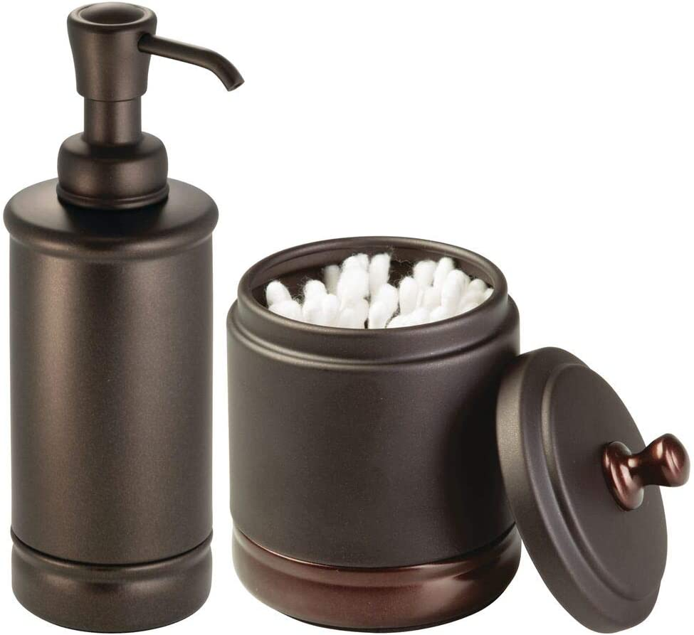 mDesign Classic Bath Accessory Set for Bathroom Vanity Countertops and Sinks, Includes Lidded Metal Canister Jar, Refillable Metal Soap Pump Dispenser, Set of 2 - Bronze with Warm Brown Accents