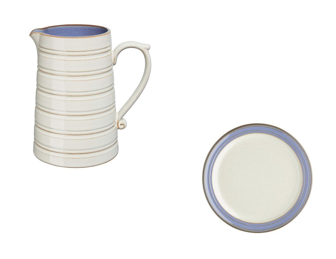 Denby Heritage Fountain Large Jug and Tea Plate, Set of 2
