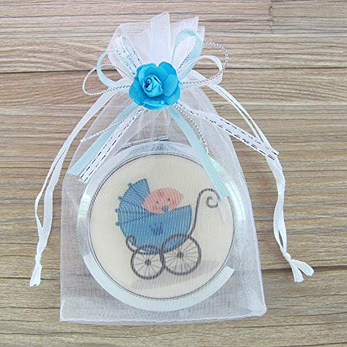 Baby Boy Shower Blue Compact Mirror Favor/Makeup Mirrors with Organza Favor bags12pcs/pack -