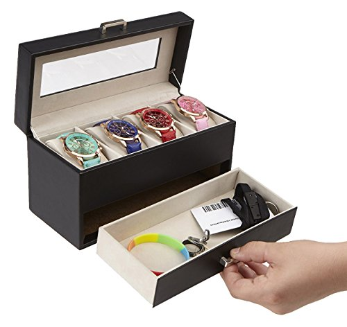 Mind Reader Watch Box Organizer Case, Fits 4 Watches, Mens Jewelry Display Storage, PU Leather, Black