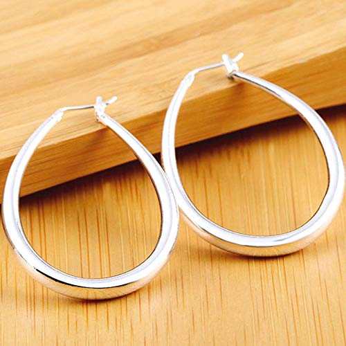 (1 Pair 925 Silver Jewelry Smooth U-Hoop Earrings Fashion Lady Glamour Jewelry Earring)