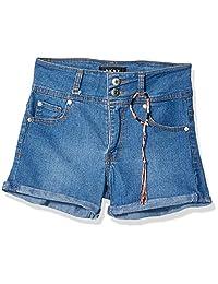 DKNY - Pantalones Cortos de Mezclilla elásticos con Dobladillo Acanalado para niñas